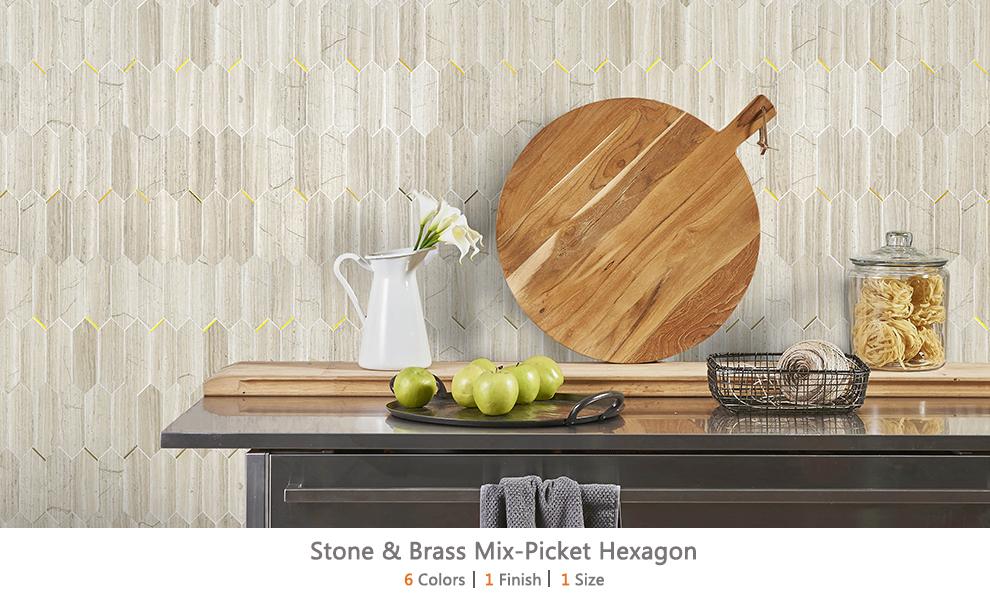 Stone & Brass Mix-Picket Hexagon