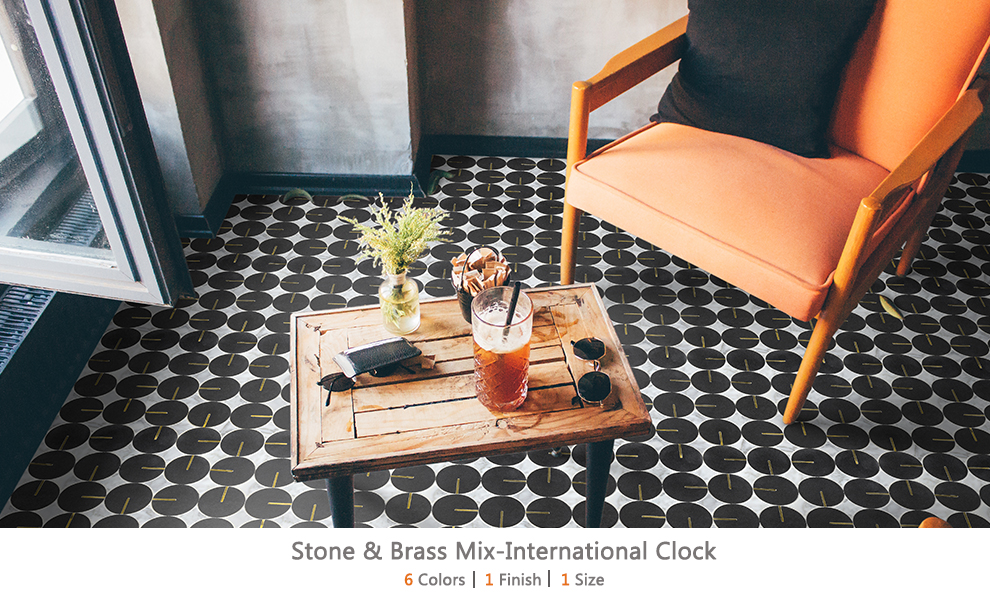 Stone & Brass Mix-International Clock