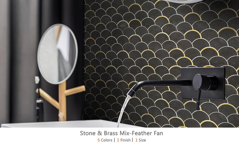 Stone & Brass Mix-Feather Fan